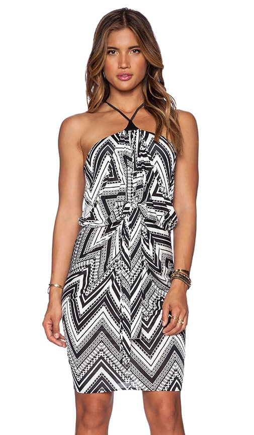 T-Bags LosAngeles Tie Front Halter Dress in Black & White Zig Zag
