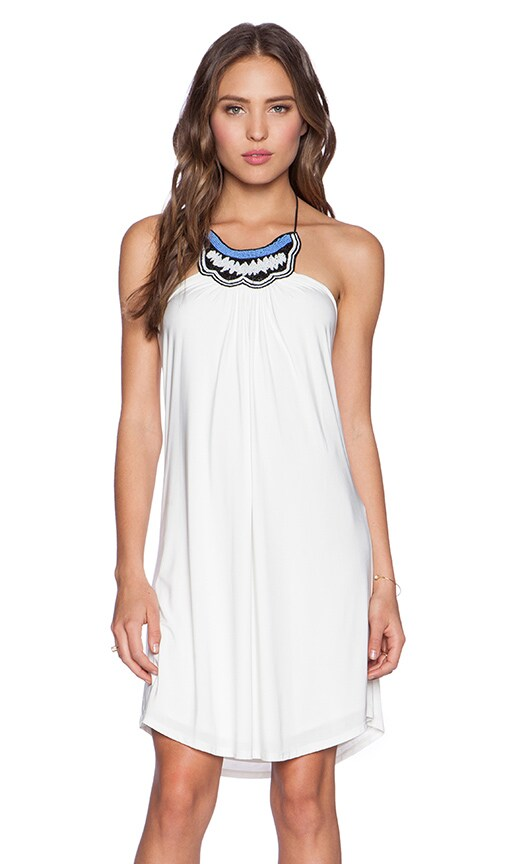 T-Bags LosAngeles Tribal Halter Dress in White