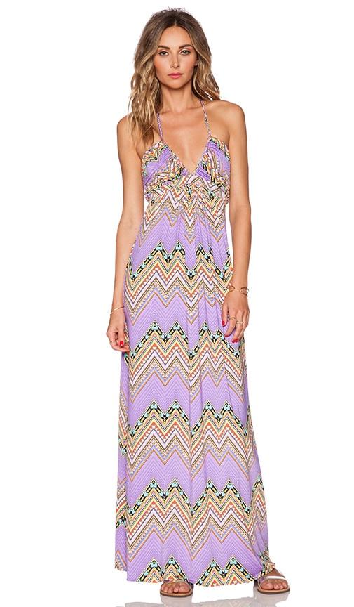 T-Bags LosAngeles Braided Halter Maxi Dress in Lavender Zig Zag