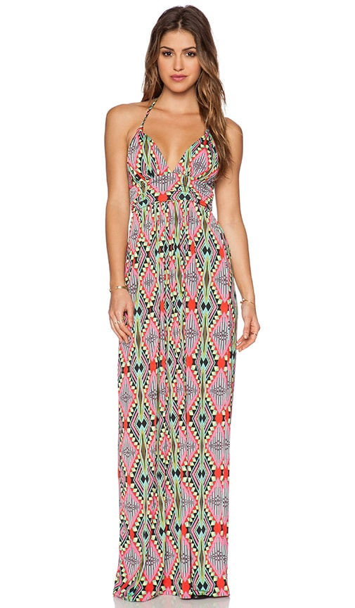T-Bags LosAngeles X Back Maxi Dress in Pink Aztec