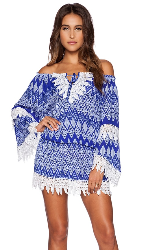 T-Bags LosAngeles Crochet Detail Dress in Cobalt Geo