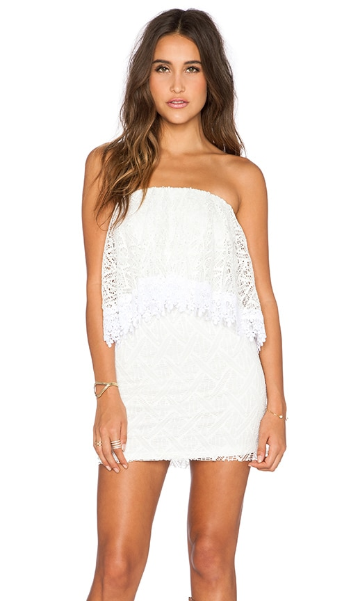 T-Bags LosAngeles Strapless Lace Mini Dress in White