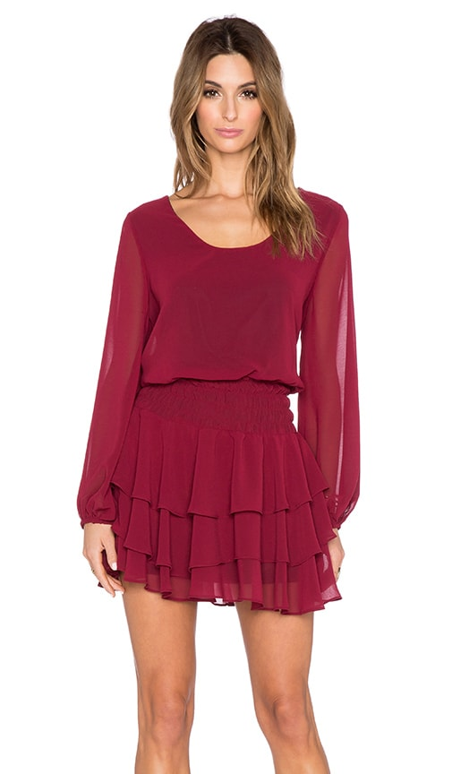 T-Bags LosAngeles Long Sleeve Mini Dress in Wine