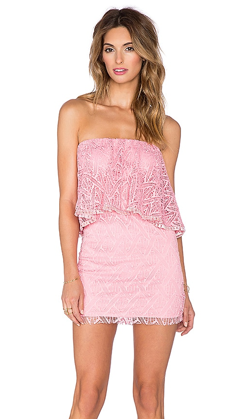 T-Bags LosAngeles Crochet Lace Ruffle Tube Dress in Blush