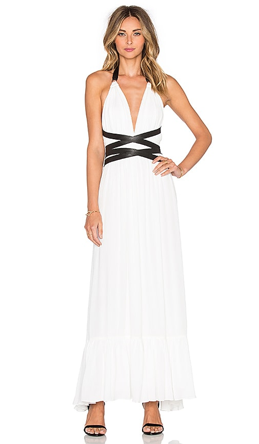 T-Bags LosAngeles V Neck Open Back Maxi Dress in White