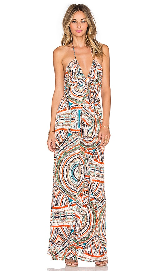 T-Bags LosAngeles V Neck Halter Maxi Dress in Neon Carnivale