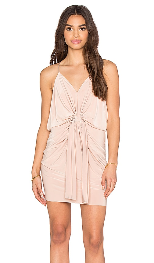 T-Bags LosAngeles Domino Tie Front Micro Mini Dress in Rose Smoke