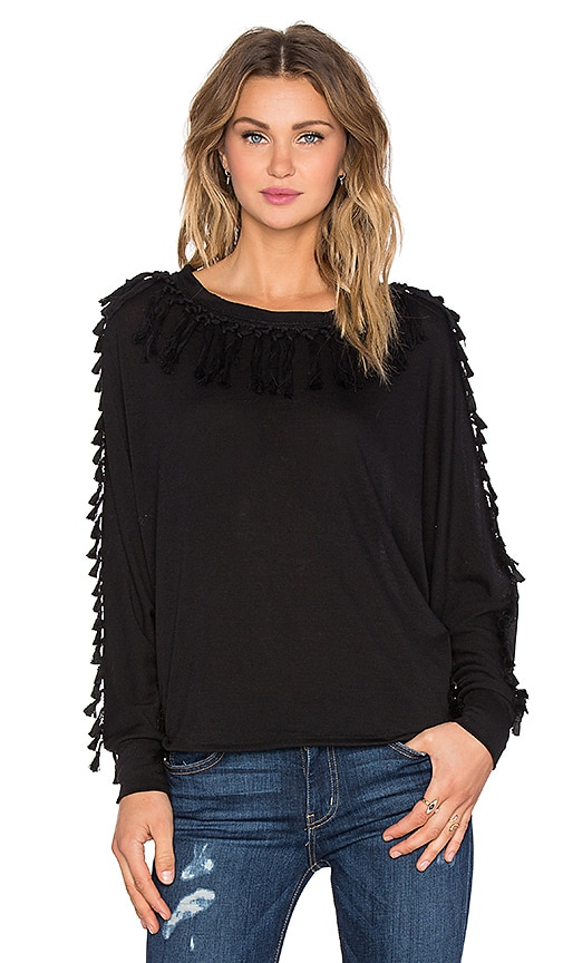 T-Bags LosAngeles Fringe Sweater in Raven Black