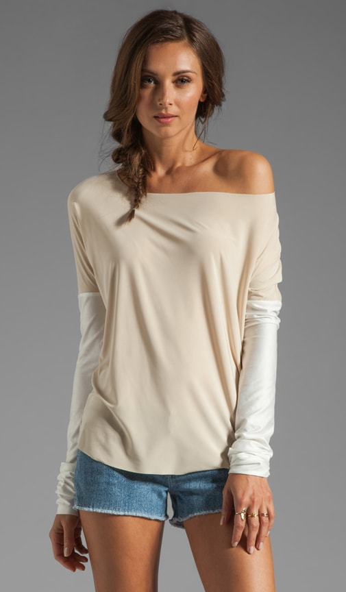 Faux Leather Sleeve Top