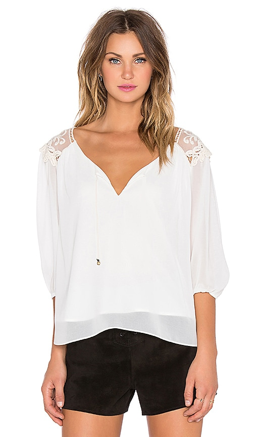 T-Bags LosAngeles 3/4 Sleeve Embroidered Top in Off White