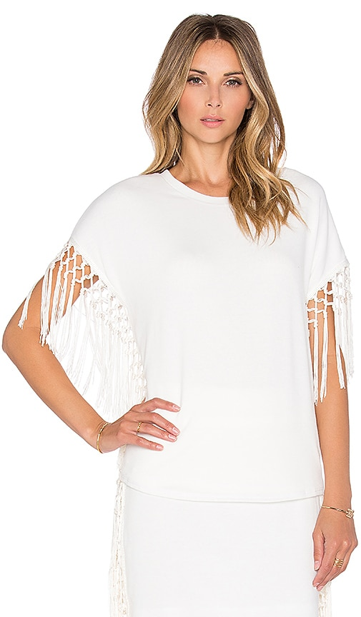 T-Bags LosAngeles Fringe Sleeve Top in Ivory