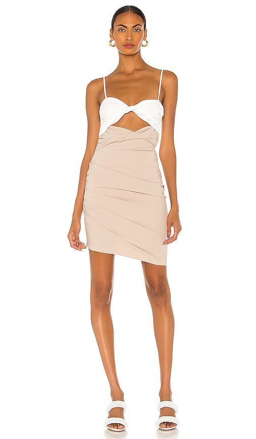 The Bar Bo Dress in White & Tan | REVOLVE