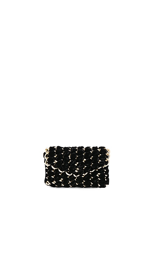 TAMBONITA Micro Eve Velvet Clutch with Gold Chain in Black