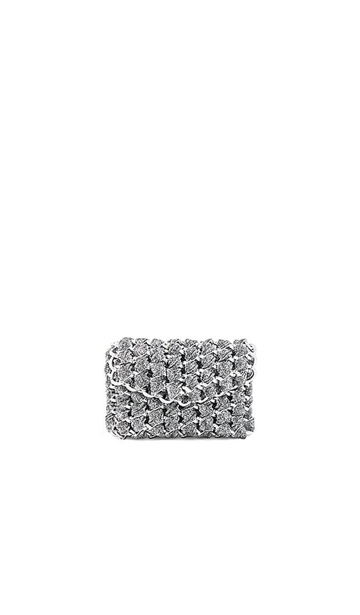 TAMBONITA Micro Eve Shimmer Clutch with Silver Chain in Metallic Silver