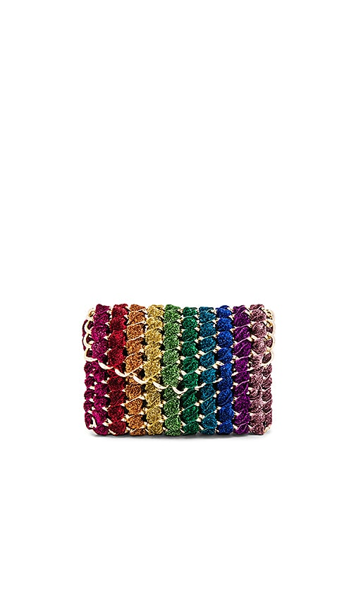TAMBONITA Rainbow Eve Clutch in Metallic Gold