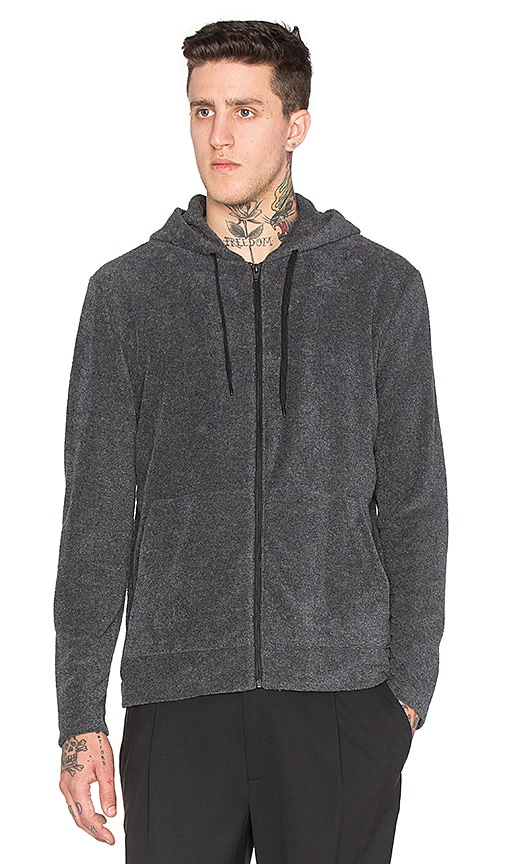 T by Alexander Wang Terry L/S Hoodie in Charcoal