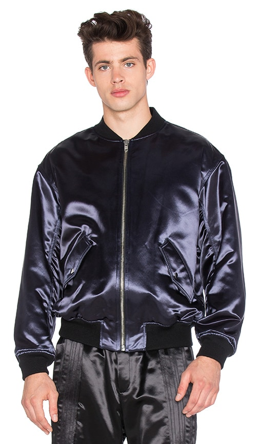 T by Alexander Wang Padded Tuxedo Bomber Jacket in Navy