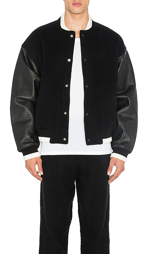 T by Alexander Wang Varsity Jacket With Leather Combo in Black