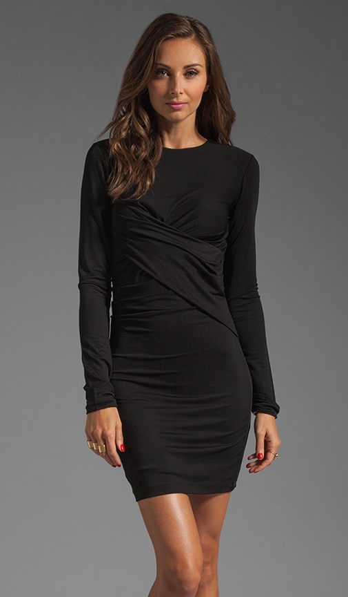 Pique Mesh Long Sleeve Twist Dress