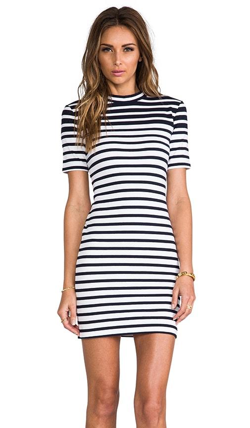 Compact Engineer Stripe Short Sleeve Dress