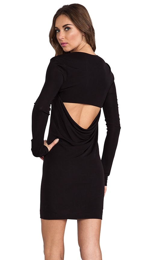Matte Jersey Long Sleeve Back Cowl Mini Dress