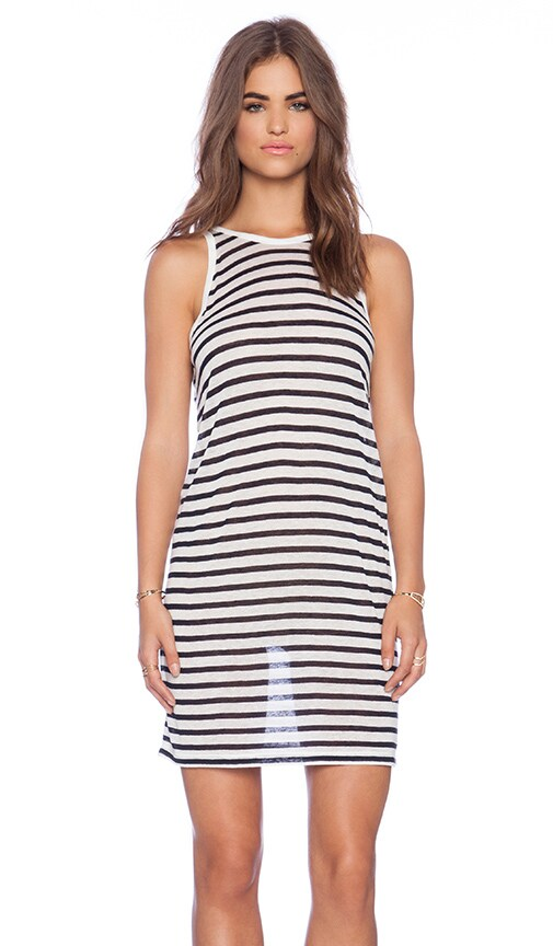 T by Alexander Wang Stripe Tank Dress in Navy & White