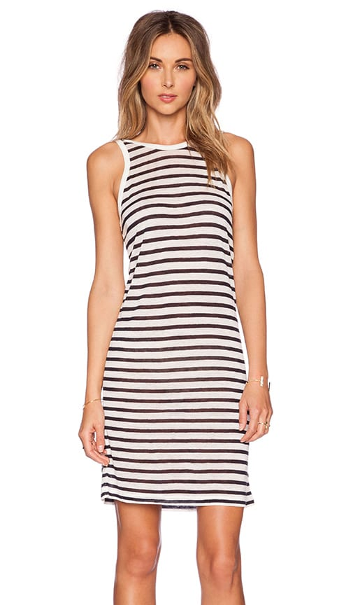 T by Alexander Wang Stripe Rayon Linen Tank Dress in Off White & Navy