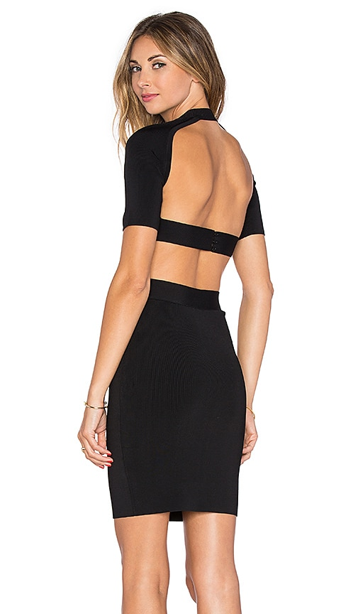 T by Alexander Wang Back Cutout Fitted Dress in Black
