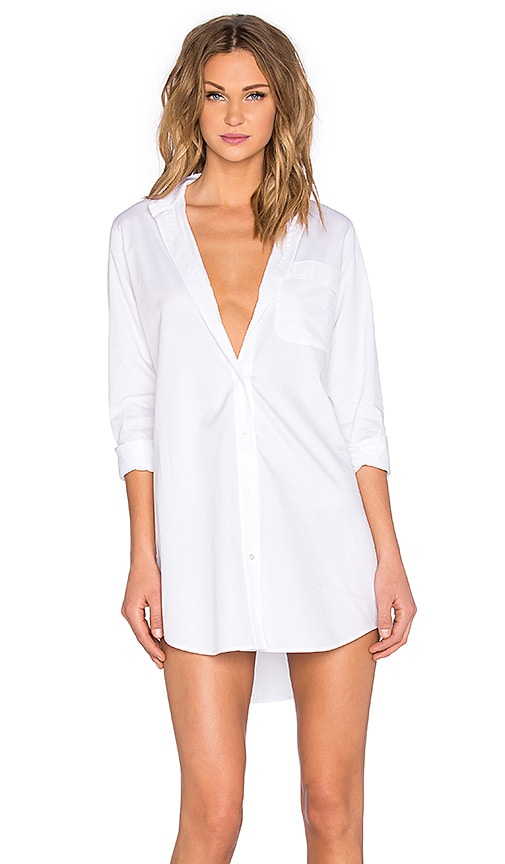 Cotton Poplin Long Sleeve Shirt Dress