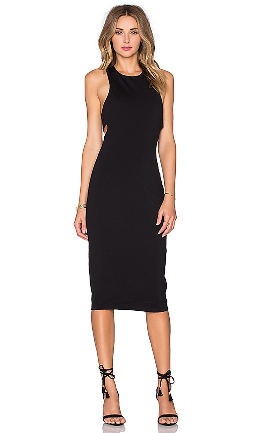 T by Alexander Wang Ponte Bandeau Back Maxi Dress in Black