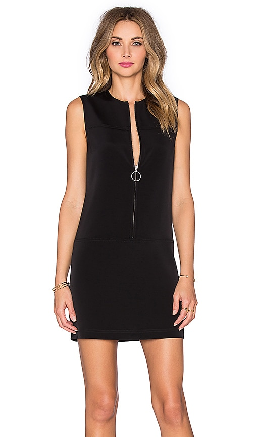 T by Alexander Wang Stretch Faille Shift Dress in Black