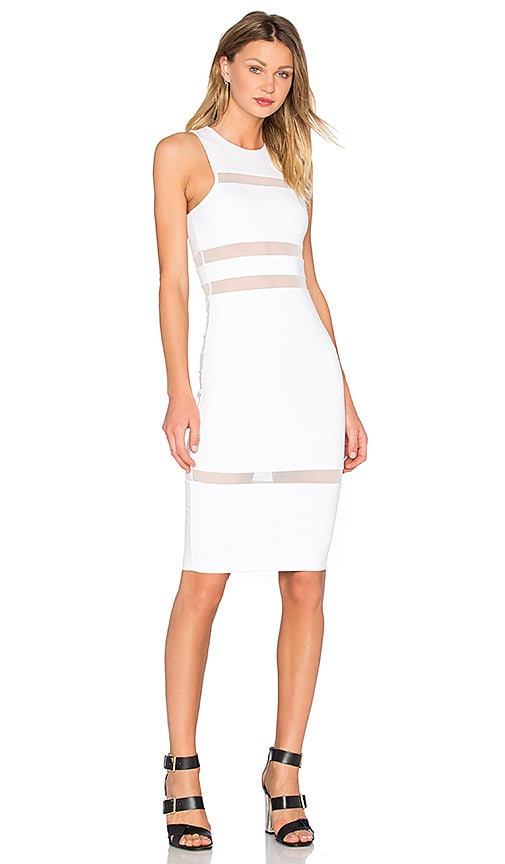 T by Alexander Wang Mesh Stripe Fitted Dress in White