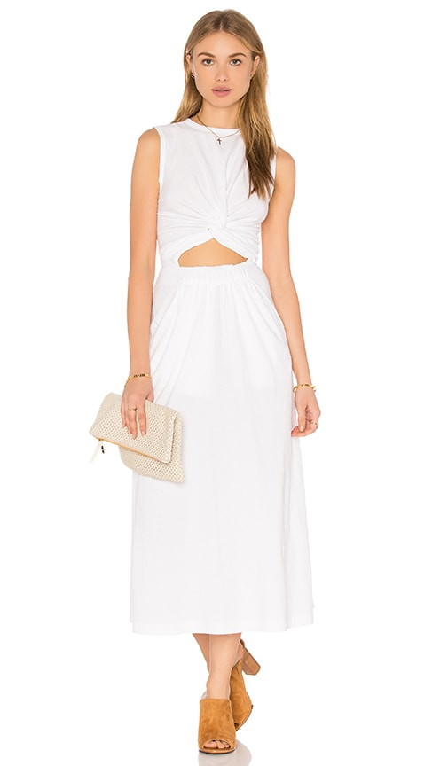 T by Alexander Wang Front Twist Muscle Dress in White