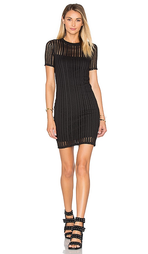 T by Alexander Wang Short Sleeve Fitted Dress in Black