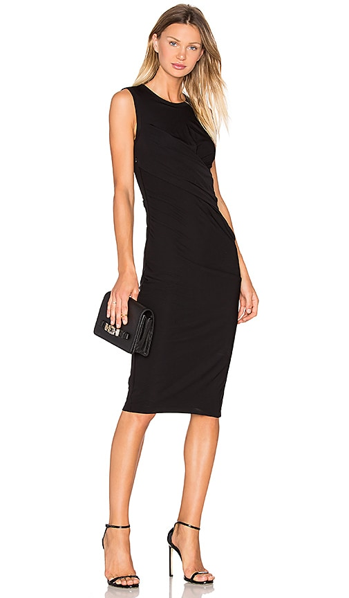 T by Alexander Wang Matte Jersey Drape Dress in Black