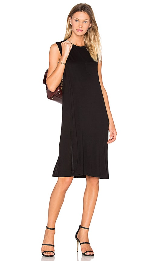 T by Alexander Wang Classic Crew Neck Dress in Black