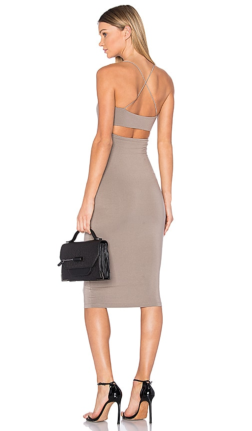 T by Alexander Wang Cross Back Tank Dress in Beige