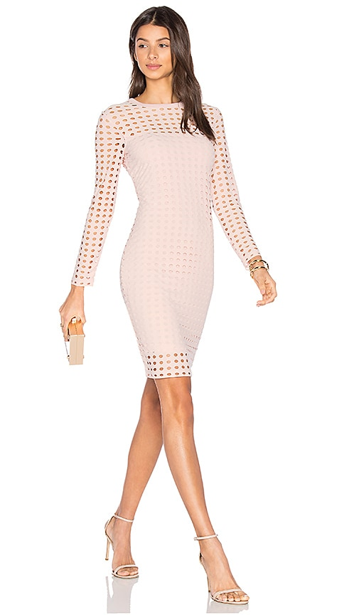 T by Alexander Wang Circular Hole Long Sleeve Dress in Pink