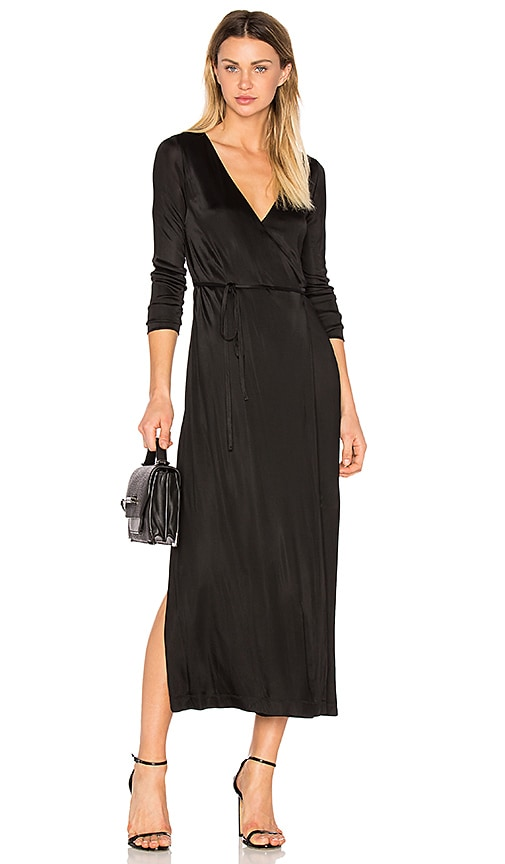 T by Alexander Wang Long Sleeve Wrap Dress in Black