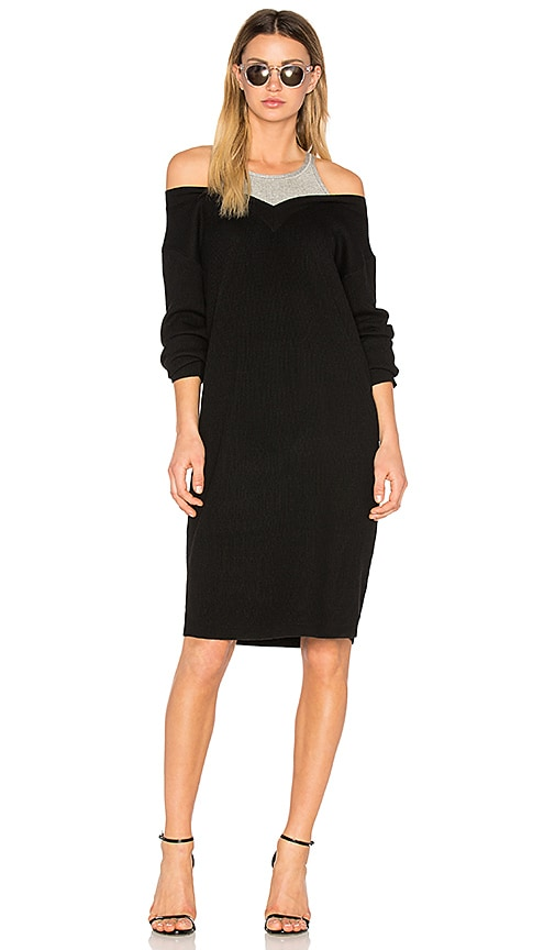 T by Alexander Wang Pullover Dress with Inner Tank in Black
