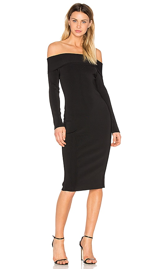 T by Alexander Wang Knit Off The Shoulder Dress in Black