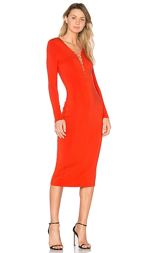 T by Alexander Wang Lace Up Midi Dress in Red
