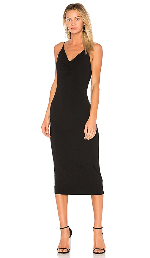 T by Alexander Wang Shirred Front Sleeveless Dress in Black