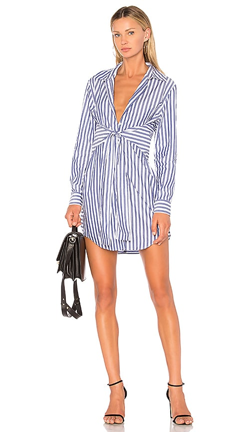 T By Alexander Wang Woman Tie-front Striped Cotton-poplin Shirt Blue Size 4 Alexander Wang Best Wholesale Cheap Price vAuUvtaSc