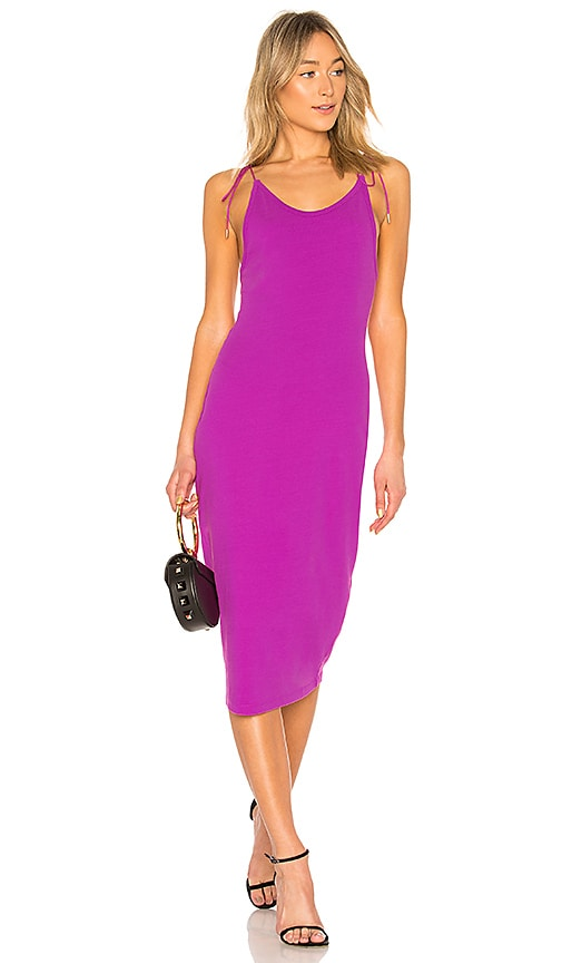 T by Alexander Wang High Twist Midi Dress in Fuchsia