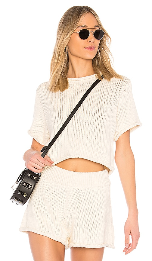 T by Alexander Wang Open Stitch Sweater in Ivory