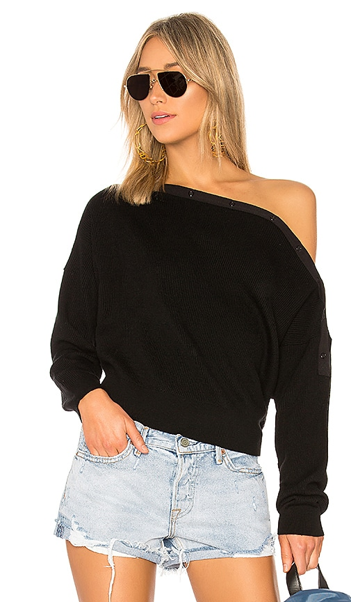 T by Alexander Wang Off Shoulder Crop Sweater in Black