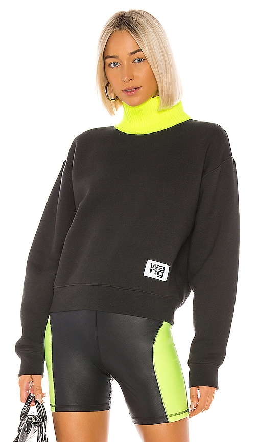 Dense Fleece Neck Trim Turtleneck by T By Alexander Wang