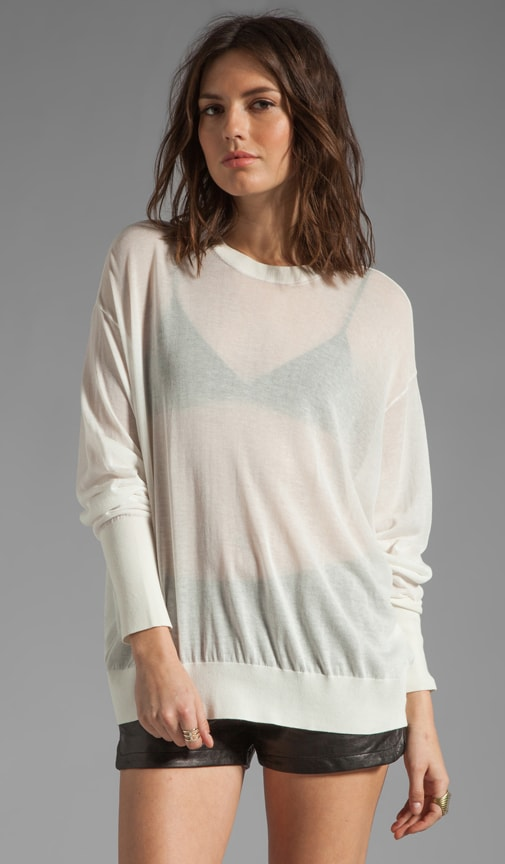 Sheer Loose Knit Crew Neck Pullover
