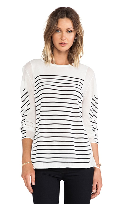 Long Sleeve Panel Stripe Knit Pullover